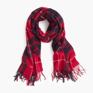 J. Crew Large Plaid Wool Scarf in Red and Black